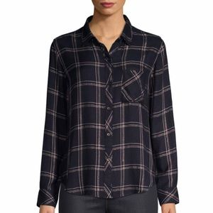 Rails Hunter Navy Snow Plaid Button Down Shirt
